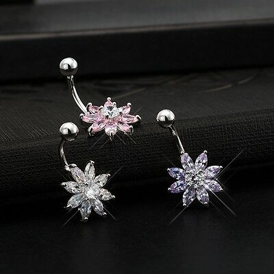 Sexy Flower Crystal Body Piercing Surgical Button Belly Ring Jewelry Navel Bars