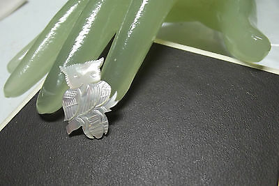 """Vintage 1"""" Small Iridescent White Owl Etched Pin - Taiwan"""