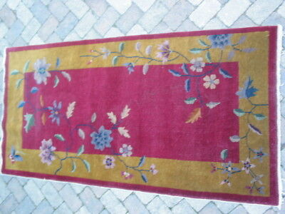 Antique Art Deco Chinese 3x6 Oriental Rug B-8038
