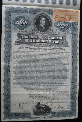 Ny Central & Hudson River Railroad Co $1,000 Vertical Format 1897 Gold Bond!