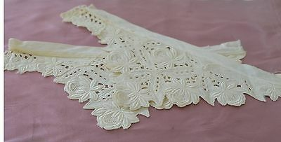 Pair Of Lovely Vintage Lace And Embroidered Ecru Edge Trims  Pp516