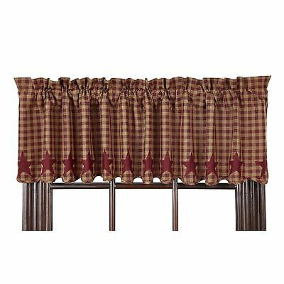 BURGUNDY STAR Scalloped Window Valance Rustic Country Primitive Khaki Check 72""