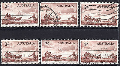 1955 2/- Australia Cobb & Co Horse & Stagecoach Royal Mail Used x 6
