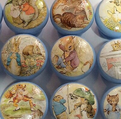 Handcrafted Beatrix Potter Peter Rabbit & Friends Decoupage 4cm Drawer Knobs x12