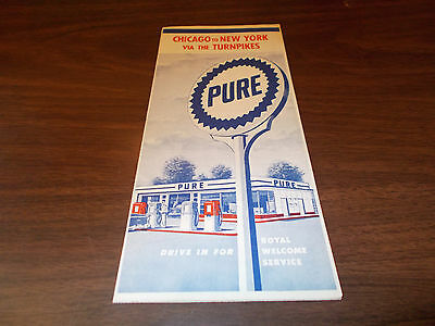 1956 Pure Chicago to New York Via TurnpikesVintage Road Map /Nice Cover