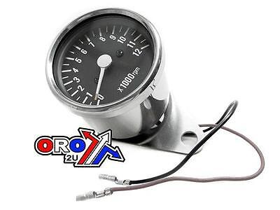 NEW MINI TACHOMETER HEAD 60MM 5:1 CHROME 12,000 RPM REV COUNTER  harley,,,,