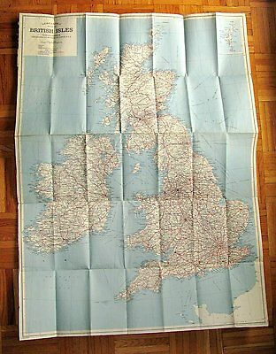 Antique Vintage  U.K Great Britain Map Of The British ISLES By Geographia