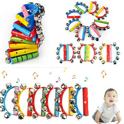 Baby Hand Bell Jingle Bell Tambourine Rattle Percussion Ring Wooden Handle Toy