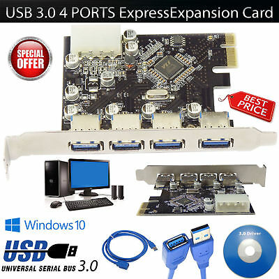 New Super Fast 4 PORTS USB 3.0 2.0 PCI-E PCIE Express Expansion Card Adapter UK
