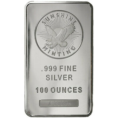 100 oz Sunshine Silver Bar (New, MintMark SI)