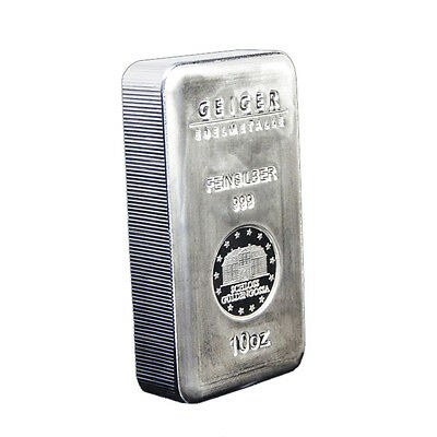 10 oz Geiger Edelmetalle Security Line Silver Bar .999 Fine (New)
