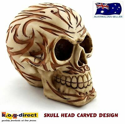 Gothic Skull Head Carved Design Halloween Statue Ornament New Skulhead