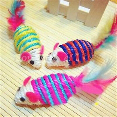 FD1109 Cute Mouse Ribbed Rattles Cat Pet Sisal Rope Weave Toy Chew ~Random~1pc A