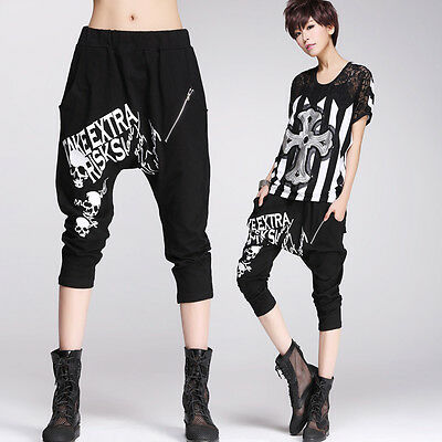 Women GOTH Cropped Pants Visual Kei PUNK Skull Print 3/4 Length Trousers HIP HOP