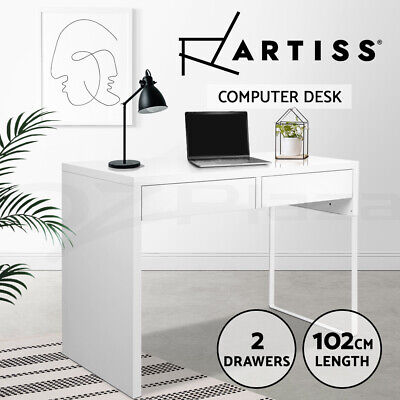 Office Computer Desk Table Home Metal 2 Drawer Cabinet Student Study White