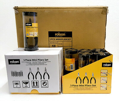 Wholesale Carton 48 Rolson 3 Piece Mini Pliers Sets 8 Shop Pack Display Inners