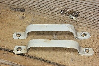 2 old cabinet door pulls drawer screen handles vintage white paint rustic 3 7/8""
