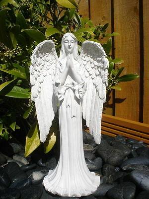 Lovely Praying Guardian Angel Statue Figurine Grave Memorial Ornament 20cm