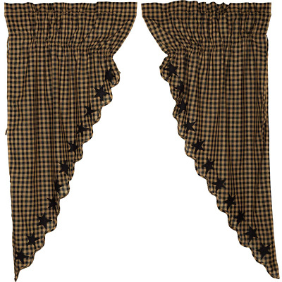 BLACK STAR Scalloped Prairie Curtain Set Rustic Primitive Applique Khaki Country