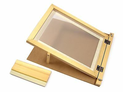 A3 Screen Printing Starter Kit Wooden Hinged Frame & Squeegee Complete Set 78530