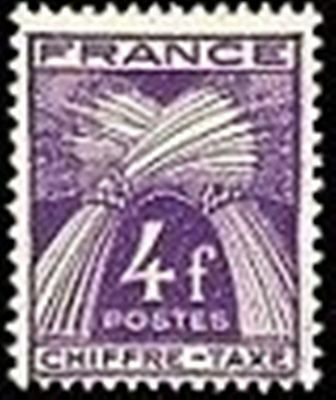 "FRANCE STAMP TIMBRE TAXE N° 74 "" TYPE GERBES 4F VIOLET "" NEUF x TB"