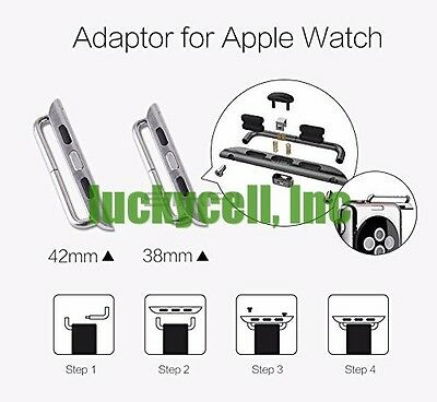 Silver WatchBand Adapter For Apple Watch Band Connection iwatch 38mm 42mm + Tool
