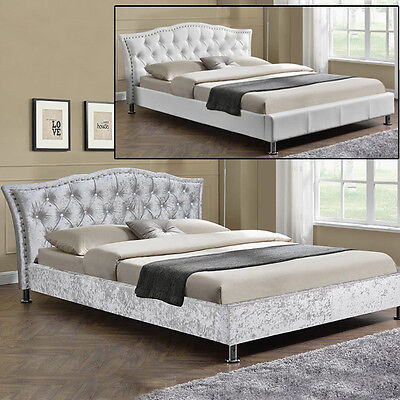 Designer Silver Crushed Velvet Bed Frame / White Faux Leather Double King Size