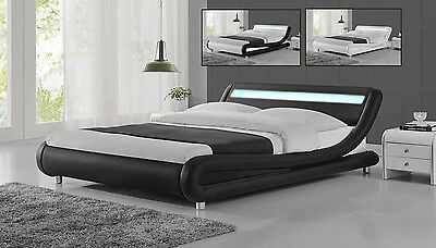 Modern Designer LED Low Bed Frame Single,Double,King Size Black / White / Silver