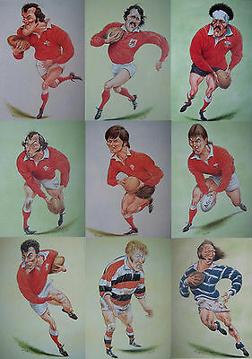 9 x WALES RUGBY PLAYER PRINTS by JOHN IRELAND MOUNTED READY FOR FRAMING