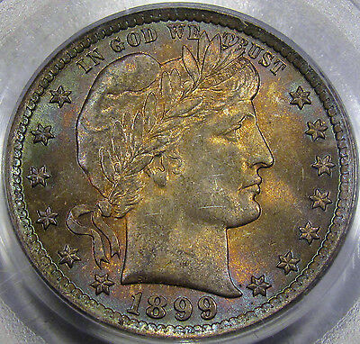 1899 Barber Quarter Dollar Choice BU PCGS MS-63... with Amazing Original Toning!