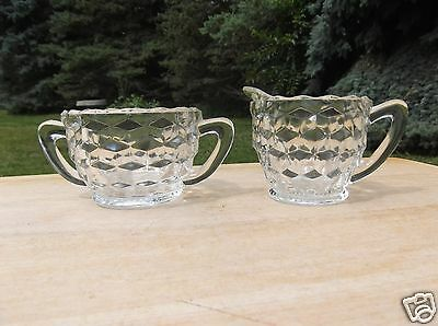 Jeannette Glass Cubist Clear Depression Glass Creamer and Sugar Bowl