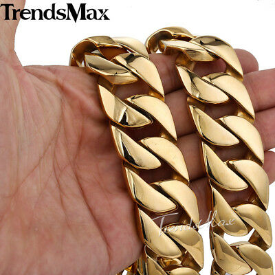 24MM Heavy Gold Plated Cuban Curb Link Mens Chain 316L Stainless Steel Necklace