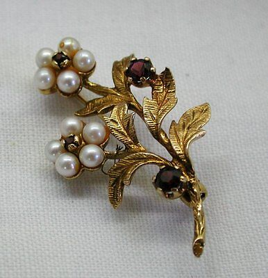 Very Pretty 9ct Gold Pearl And Garnet Flower Spray Brooch
