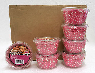 Wholesale Box Of 24 Packs Of 100 Pink Paper Mini Muffin Cup Cake Bun Case Liners