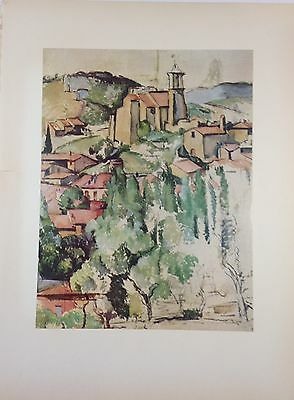 """1952 Vintage Full Color Art Plate """"VIEW OF GARDANNE"""" CEZANNE Lithograph Litho"""