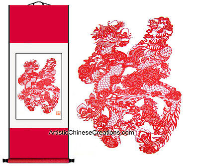 Chinese Wall Scroll - Chinese Paper Cuts: Dragon & Phoenix / Good Fortune