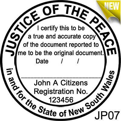 JP07 JUSTICE OF THE PEACE NSW Custom Flash Stamp Pre & Self Inking Refillable