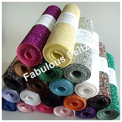 Glitter Fabric Material (CHUNKY) MINI ROLL 21cm x 100cm Craft/Applique/Christmas