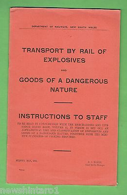 #ss. 1952  Nsw Railway Booklet - Transport Of Dangerous Items