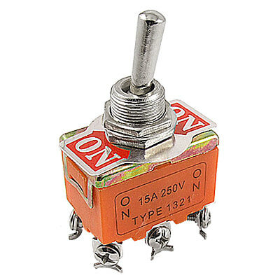 AC 15A 250V Double Pole DPDT On/On Latching Toggle Switch