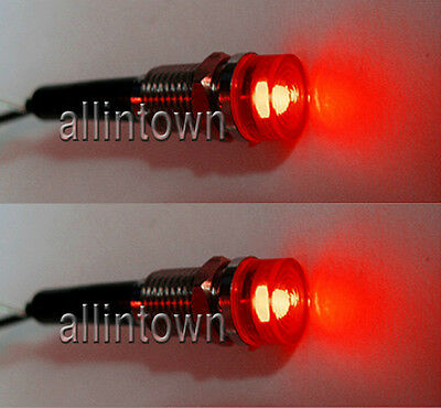 LED 12v Red Indicator Lights pilot dash signal toggle warning