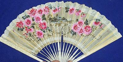 """8 1/2"""" Made in Japan Hand Fan Rice Paper & Wood Painted Flowers & Home Pink Gold"""