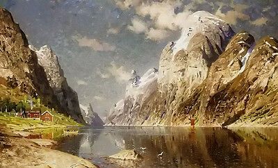 Oil painting adelsteen normann - fjorden fjord landscape with village by rivers