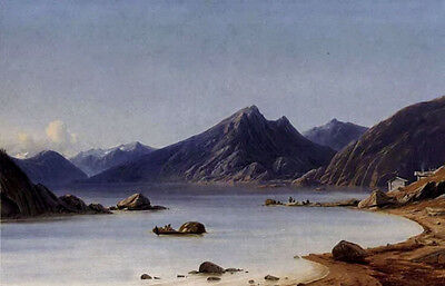 Oil painting adelsteen normann - fishing on a fjord nice Norway landscape canvas