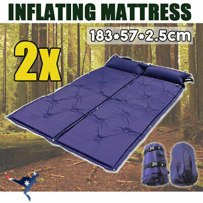 2x Self Inflating Mattress Airbed Camping Hiking Mat Sleeping with Pillow Bag