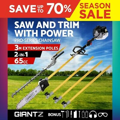 Giantz 65CC Long Reach Pole Chainsaw Hedge Trimmer Pruner Chain Saw Tree