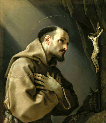 Stunning Oil painting Guido Reni - Saint Francis Adoring a Crucifix in landscape