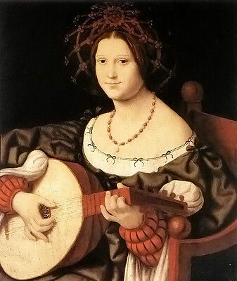 """Oil painting Andrea Solario - the lute player nice young woman free shipping 36"""""""