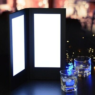 "5.5x11"" LED Back Lit Light Menu Holder Cover Folding Double Panel Illuminated"