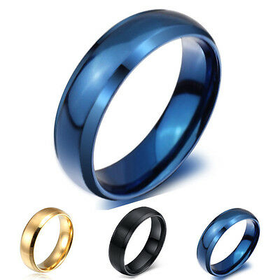 Size4-14 Blue/Gold/Black Titanium Steel Engagement Ring Men/Women's Wedding Band